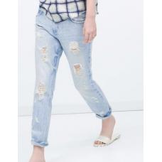 ZARA Women Calça Jeans Boyfriend Destroyed