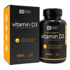 Sports Research Vitamin D3 with Organic Coconut Oil 360 Capsulas