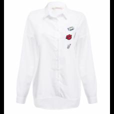 BYDI Camisa Social Branca com Patches