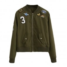 BYDI Jaqueta Bomber Verde Militar Army com Patches