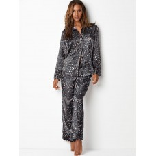 Victoria's Secret Pijama The Afterhours Satin Black Leopard