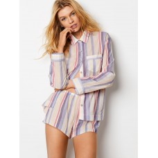 Victoria's Secret Pijama Boxer The Lightweight Cool Multi Stripe