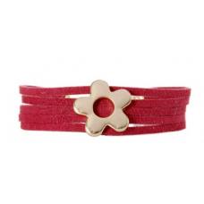 Pulseira Tirinhas Camurca com Flor (Vermelho)