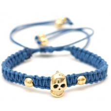 Pulseira Macrame Caveira Azul