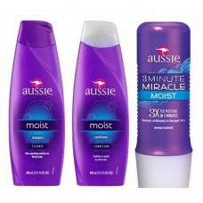 Aussie Kit Moist Shampoo + Condicionador + Máscara 3 Minute Miracle