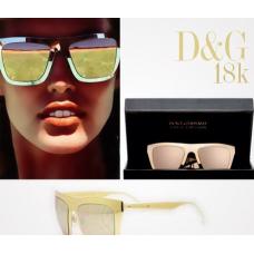 Dolce & Gabbana - Óculos Espelhado Dourado Banhado a ouro 18k