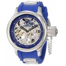 Relogio Invicta Mens 1089 Russian Diver Stainless Steel and Blue Polyurethane Mechanical Watch with Skeleton Window
