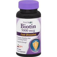 Natrol Biotin 5000mg vitamina para os cabelos. 90caps - Sabor Morango