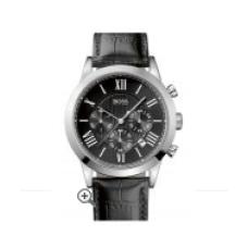 Relogio Boss Hugo Boss Leather Strap Round Chronograph Preto com Prata