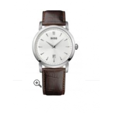 Relogio Boss Hugo Boss Round Leather Strap Prata com Marrom