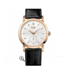 Relogio Boss Hugo Boss Round Leather Strap Rose com Preto