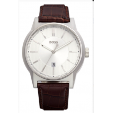 Relogio Boss Hugo Boss Architecture Round Leather Strap Marrom
