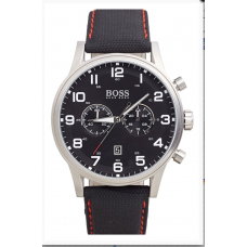 Relogio Boss Hugo Boss Chronograph Textured Leather Strap Preto com Prata