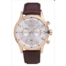 Relogio Boss Hugo Boss Chronograph Leather Strap Marrom com Rose