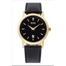 Relogio Boss Hugo Boss Round Leather Strap Preto com Dourado