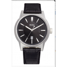 Relogio Boss Hugo Boss Architecture Round Leather Strap Preto