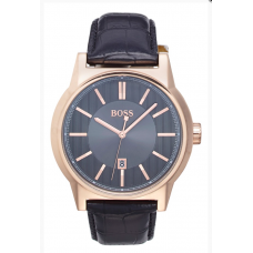 Relogio Boss Hugo Boss Architecture Round Leather Strap Preto com Rose