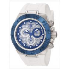 Relogio Invicta 10867 Subaqua Chronograph Silver Carbon Fiber Dial White Silicone Branco, Prata e Azul