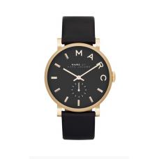 Relogio Marc Jacobs Baker Leather Strap Preto com Dourado