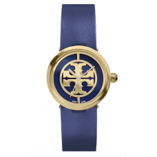 Relogio Tory Burch Reva Logo Dial Leather Strap Azul Marinho com Dourado