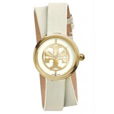 Relogio Tory Burch Reva Logo Dial Double Wrap Leather Strap Ivory com Dourado
