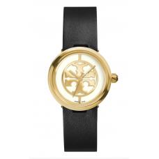 Relogio Tory Burch Reva Logo Dial Leather Strap Preto com Dourado
