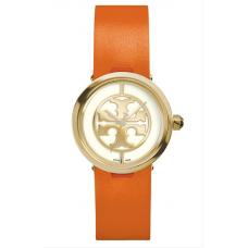 Relogio Tory Burch Reva Logo Dial Leather Strap Laranja com Dourado
