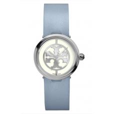 Relogio Tory Burch Reva Logo Dial Leather Strap Azul Claro com Prata