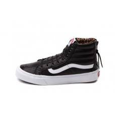 Vans sk8 hi slim zip skate shoe black/white - interior leopardo