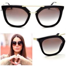 Óculos New Prada modelo SPR Q13 54o20 cor tartaruga/dourado