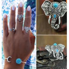 Anel Vintage Boho Elefante Prata
