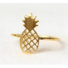 Anel Boho Pineapple Abacaxi Dourado