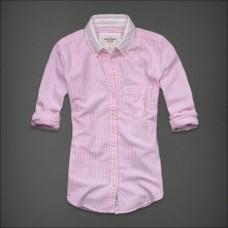 Abercrombie Camisa Social Rosa Listrada
