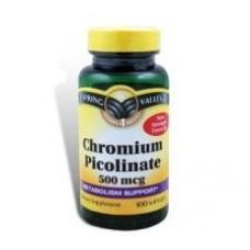 Spring Valley Chromium Picolinate 500 mcg 100 Capsulas (Picolinato de Cromo)